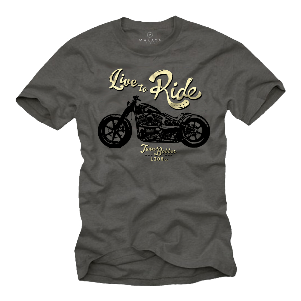 Herren T-Shirt - Fatboy Motiv - Live to Ride